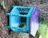 Funky Bright Turquoise & Purple Upcycle Side Table / Colorful Accent Table - GetColorCrazy