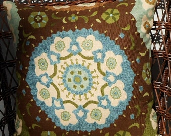 """Large Medallions on Brown Throw Pillow Cover//20"""" Throw Pillow"""