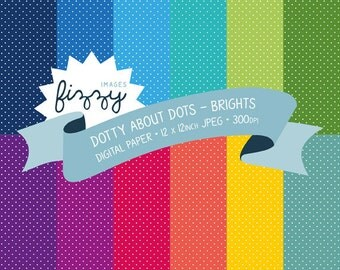 12 x Polka Dot Pattern Digital Papers for Personal and Commercial Use with Instant Download. SS0060