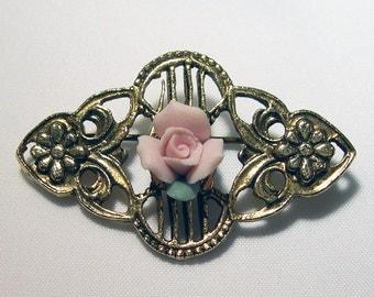 Victorian Pink Rose Pin