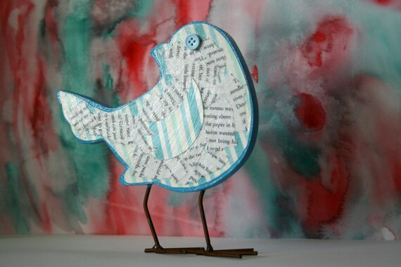 Old Book Pages - Blue Bird Home Decor - Decoupage