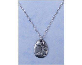 Moon Gazing Hare Pewter Pendant Necklace silver plated chain