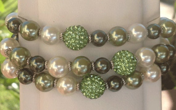 The Best Friend Bracelet - green pave bead, with white faux pearls, and green vintage beads (beads can slightly vary)