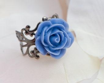 Blue Rose on adjustable filigree ring