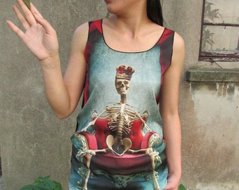 Skull tshirt, skull shirt,skull  tanktop for women