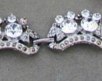 Vintage Clear Bright Rhinestone Bracelet Silver Tone Unsigned Estate Jewelry