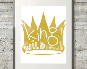 Where The Wild Things Are - King of All Wild Things 8x10 Watercolor Nursery Print Printable