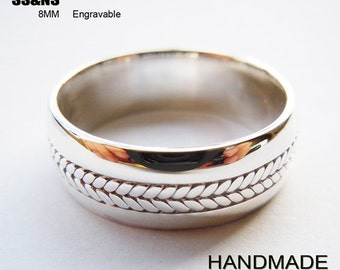 Engravable Mens Sterling Silver Rope Ring 8mm Handmade All Sizes