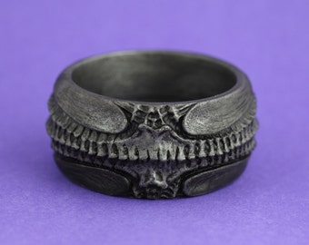 Gothic bangle ornate HR Giger inspired alien bio mechanical darkly beautiful jewellery jewelry intricate design  antique silver resin bangle