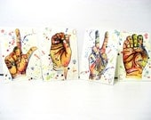 LOVE // Set of Four ACEO Prints // colorful watercolor painting // Illustration // Valentines Day
