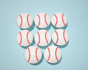 Set of 8 Hand Painted Sports Baseball Knobs