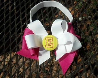 Monogrammed Button Stacked Bow on Adjustable and Interchangeable Elastic Headband - 2 Piece Set