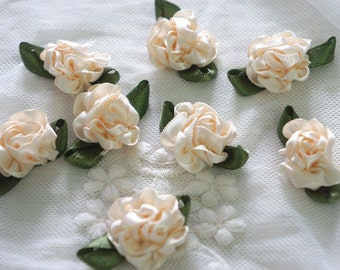 light tan Satin Ribbon Flower Appliques -36 pcs