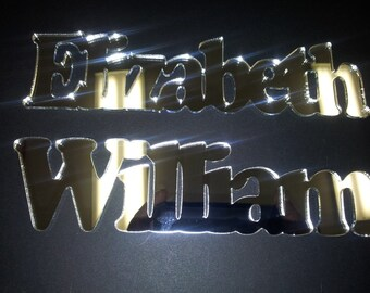 Laser cut names personalized with the name you choose in 1/8 MIRROR Acrylic - Silver or Gold - Custom laser Cut - FREE SHIPPING