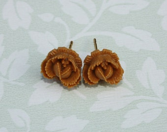 Vintage Style Butterscotch Ruffled Rose Stud Post Earrings