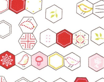 Sew Stitchy Hexagons Fabric by Aneela Hoey for Moda Fabrics 18542 11 Cotton (white) - 1/2 yard