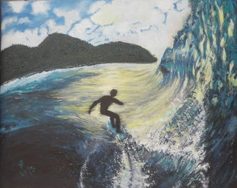 Original Large Oil Painting  of Surfing