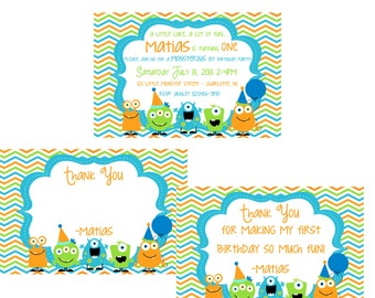 Little Monsters Invitation and Thank you set