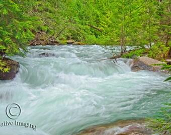 Glacier Park, Landscape Photography, Rushing River, Nature Photography, Montana,  US National Park