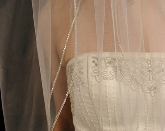 2 layers wedding veil - swarovski crystals edging. 2 layers bridal veil. This veil is ready to ship.