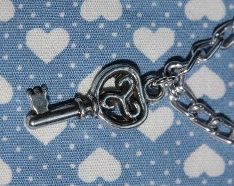 Handmade Silver Key Charm bracelet