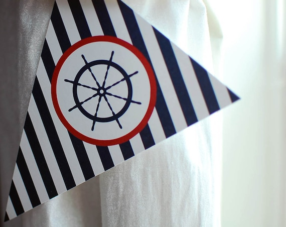 18 inch nautical flag clock nautical banner instant download printable nautical birthday