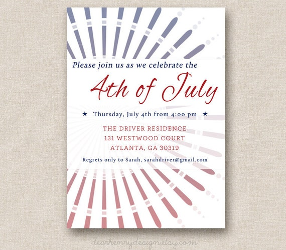 Items Similar To 4th Of July Invitation, Independence Day