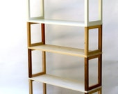 Bookcase or Shelving Unit in Sustainable and Reclaimed Wood w/ White Upper Shelving