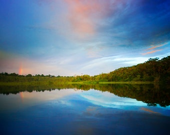Lake in Amazon Rain Forest at Sunset. Fine Art Landscape Photography by Roy Hsu