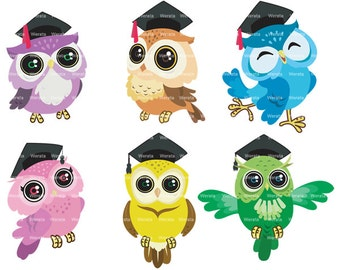 Graduation Owls Clipart Clip Art, Owl Clipart Clip Art, School Owls Clipart Clip Art, education Clip Art - Personal and Commercial Use