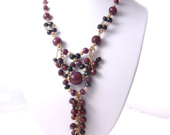 Necklace,Evening Holiday 14K GF Genuine Ruby Gems, Black Spinel gems beaded, Pearls OOAK,kay 2573