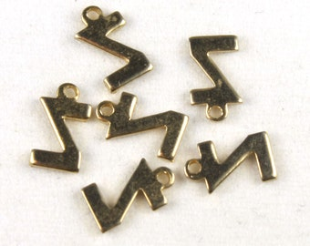12x Vintage Plated Initial Charms - M030-Z/pl