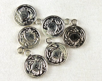 6x Vintage Silver Plated Cancer Charms - M029-A