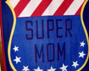 Super Mom Fleece Throw Mom Gift Veteran