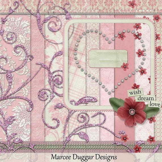 Kinzee Pink  Digital Scrapbook Kit