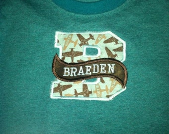 Initial with Bannered name T-shirt