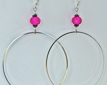 Large silver hoops. Gold, silver, copper, semiprecious and bead accents. Great gift for birthdays, and special occasions..