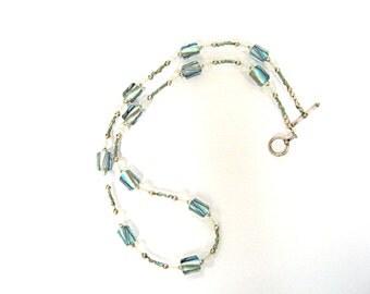 Sky blue glass beaded necklace