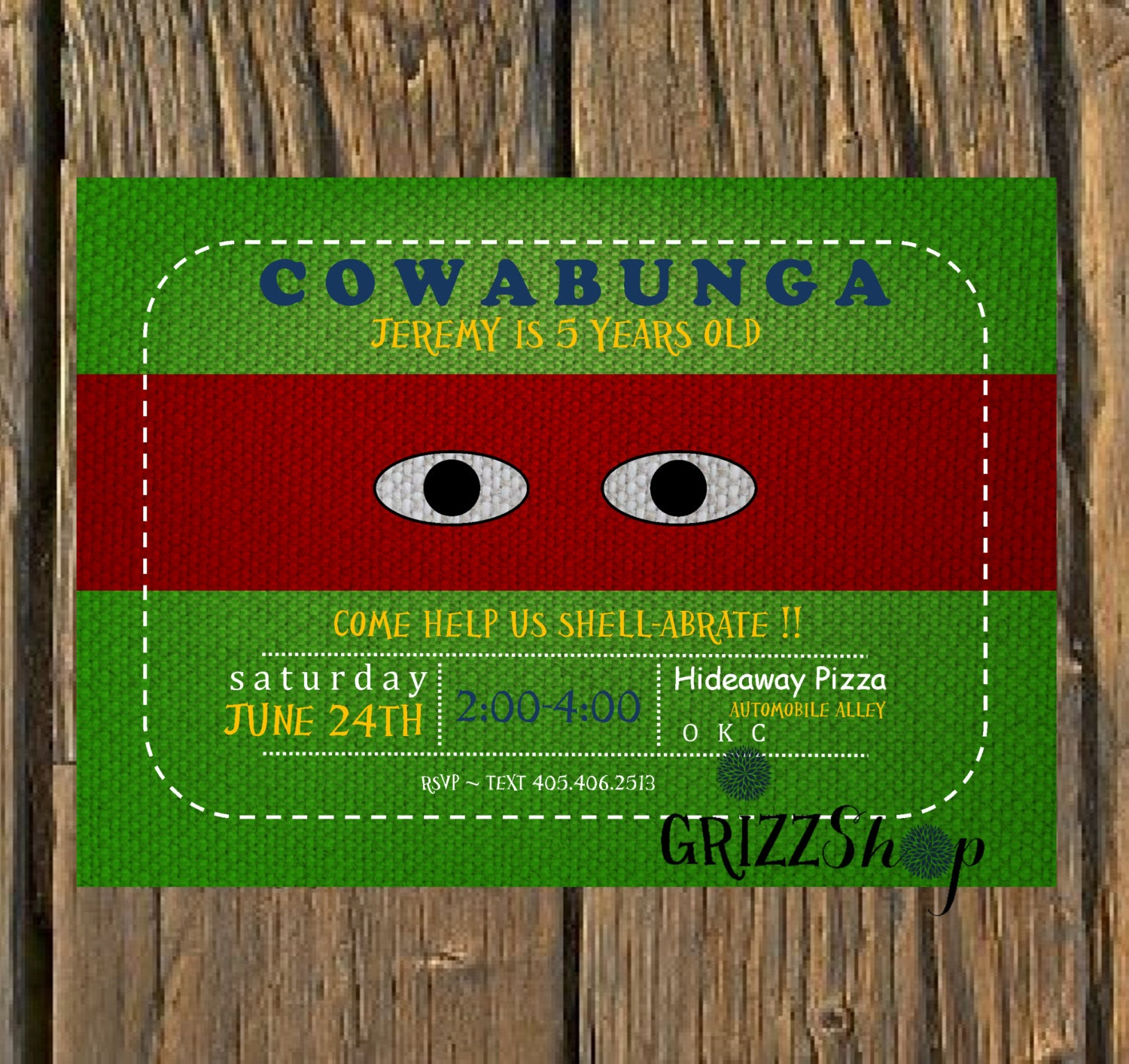 ninja turtle birthday invitation by grizzshop on etsy, Birthday invitations