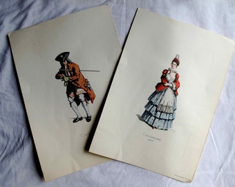 2 Italian Colored Engraving Prints on Paper of Actors Colombine and Cassandre Vintage
