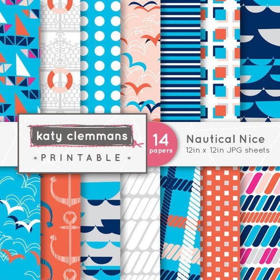 Nautical nice digital paper pack sailing theme by for Themed printer paper
