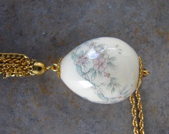 Vintage Hand Painted Egg Necklace