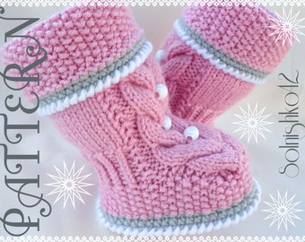 Girls Knitted Hat Pattern : BABY BOOTIES UGGS PATTERN Free Baby Patterns
