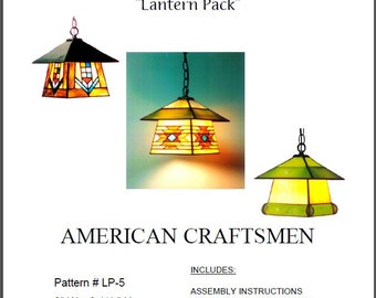 American Craftsmen Stained Glass Lantern Pattern Pack - 3 uniquely American lantern designs in one package