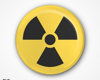 Radioactive Symbol Pin Badge or Magnet available in 2.5cm or 3.8cm