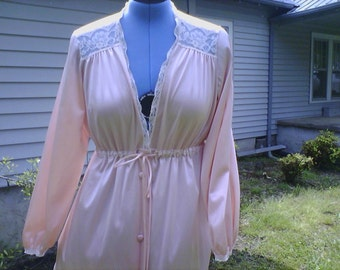 Full Length Peachy/Pink Nylon Robe