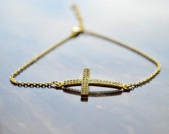 Sideways Cross Bracelet - Horizontal Cross Bracelet - Silver Anklet - Gold Sideways Cross Bracelet - Cubic Zirconia Cross - Gold Cross