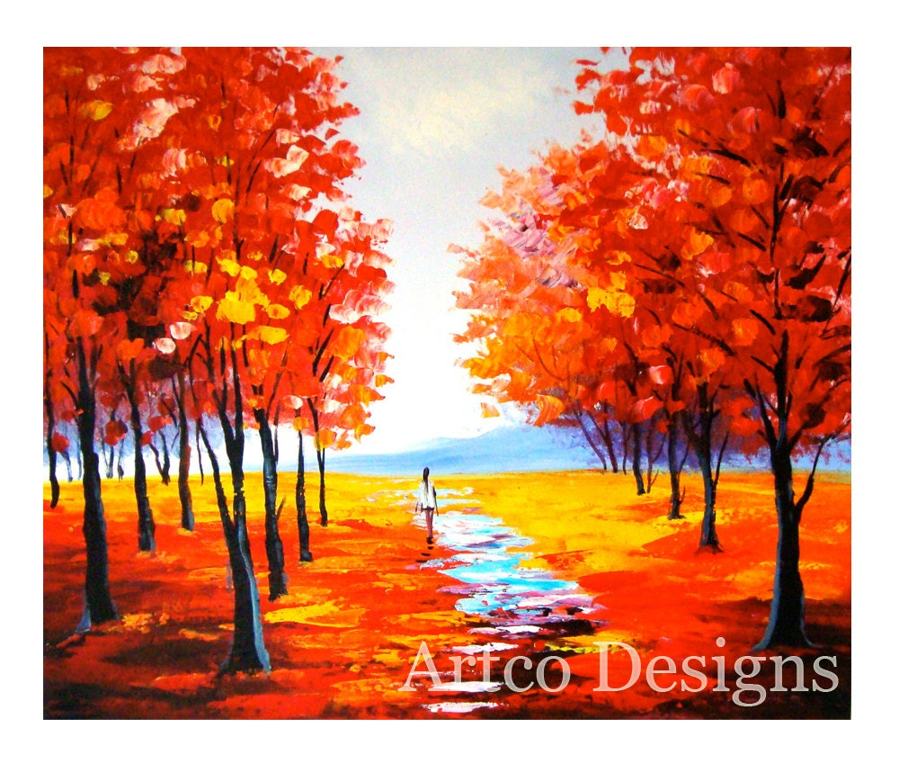 Red fall painting art red autumn painting autumn by for Autumn tree painting
