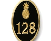 """Gold leaf house number sign with small pineapple 6.5"""" by 10"""""""