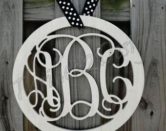 36 inch Solid Border Circle Vine Wooden Monogram - Wedding, Nursery, Home